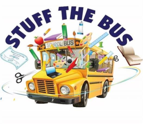 Stuff the bus logo with a school bus and school supplies surrounding it
