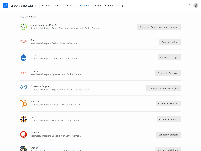 GatherContent content integrations