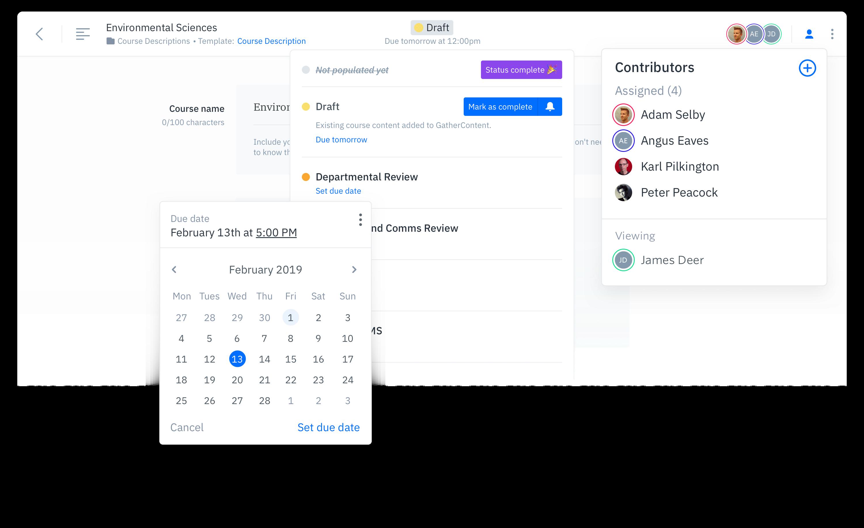 GatherContent Content Editor Management UI