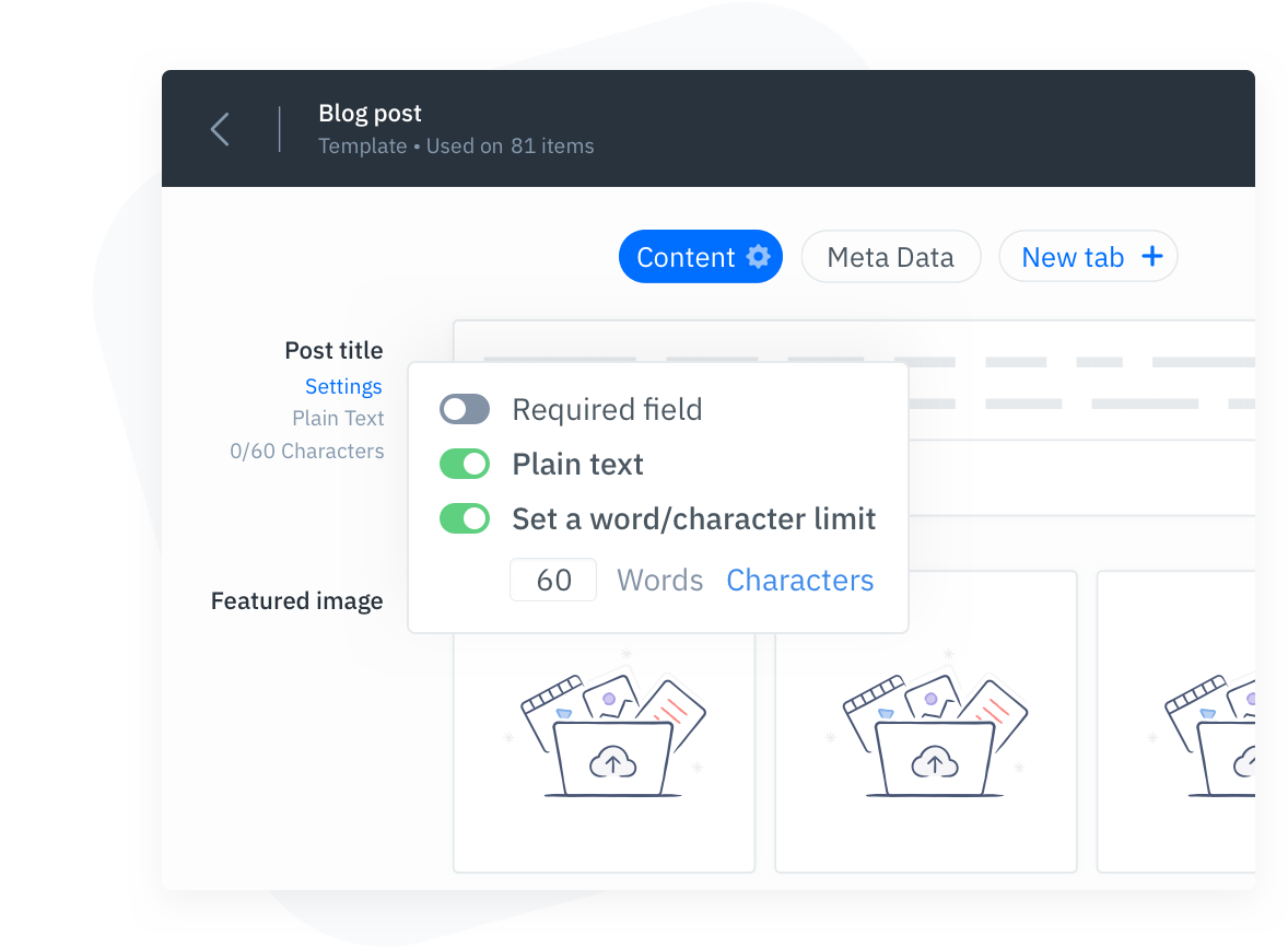 GatherContent Content Template Field Guidelines UI