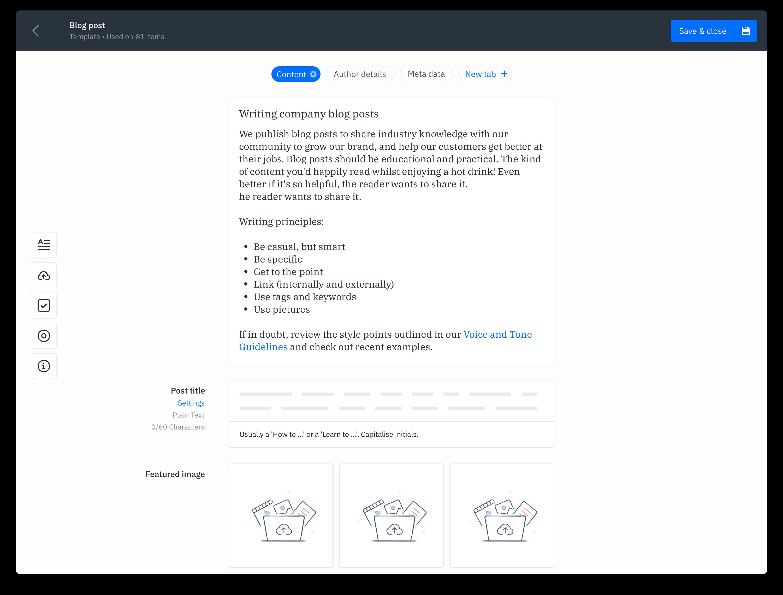 GatherContent Content Template Builder UI - Blog Content