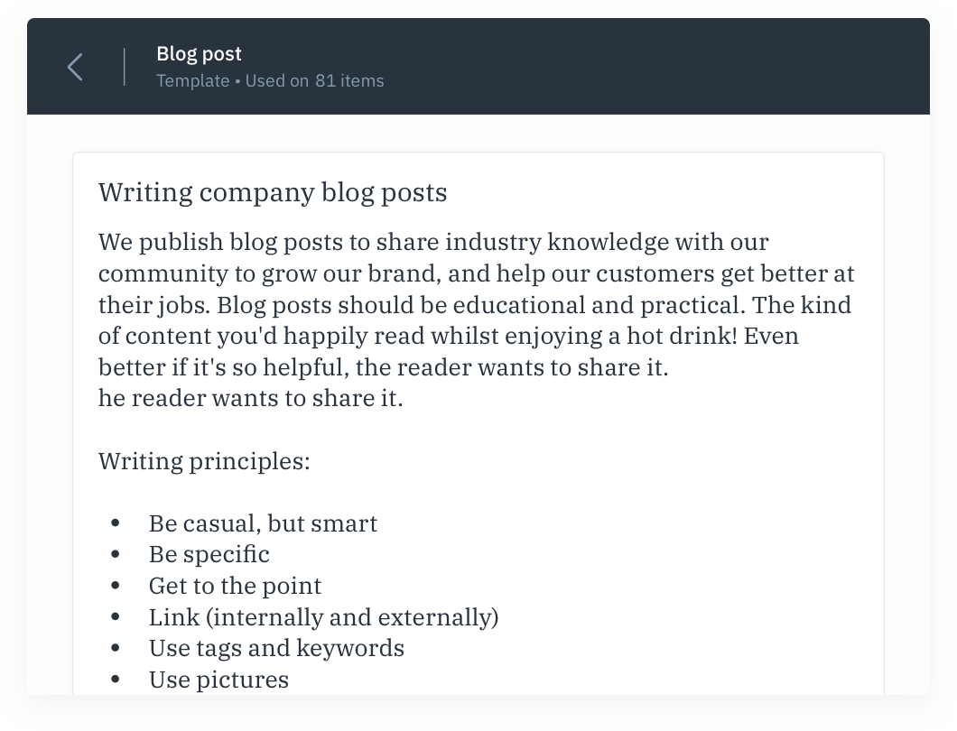 GatherContent embedded content style guide UI
