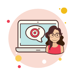 Girl next to computer with target on it graphic