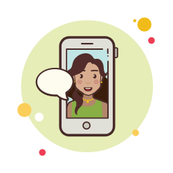 Girl inside phone screen with speech bubble
