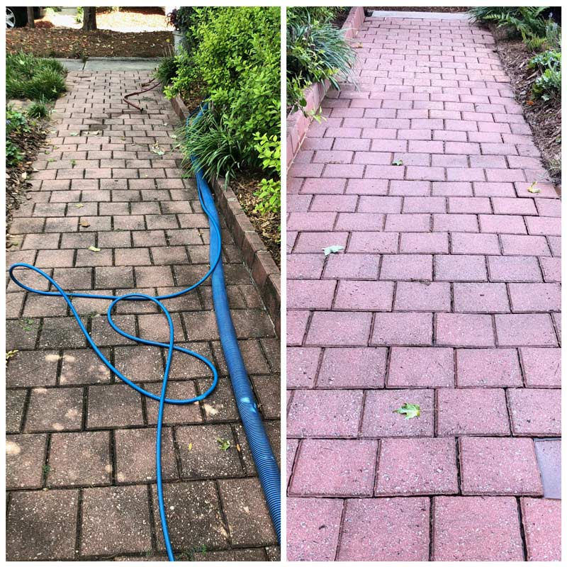 Pressure washing before and after on pavement in Monroe, GA