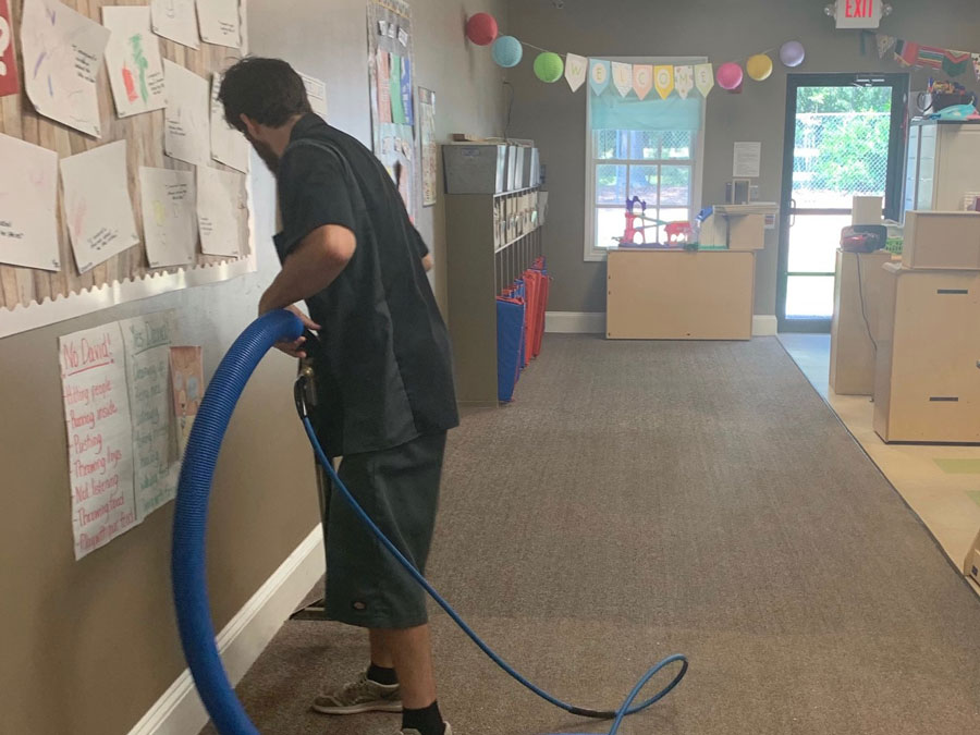 Spotless carpet cleaning at a school