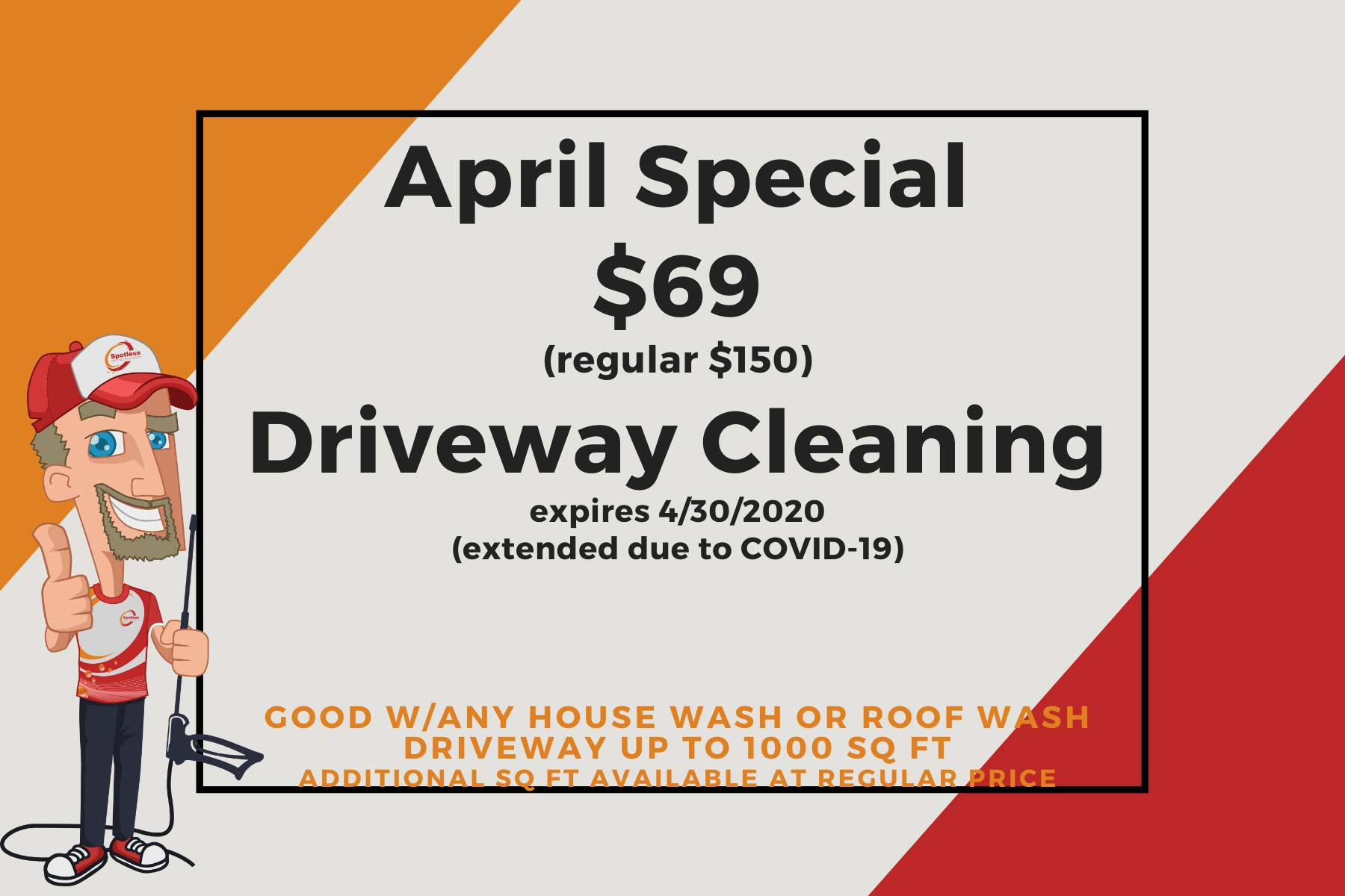 Take advantage of our April Special for Driveway Cleaning