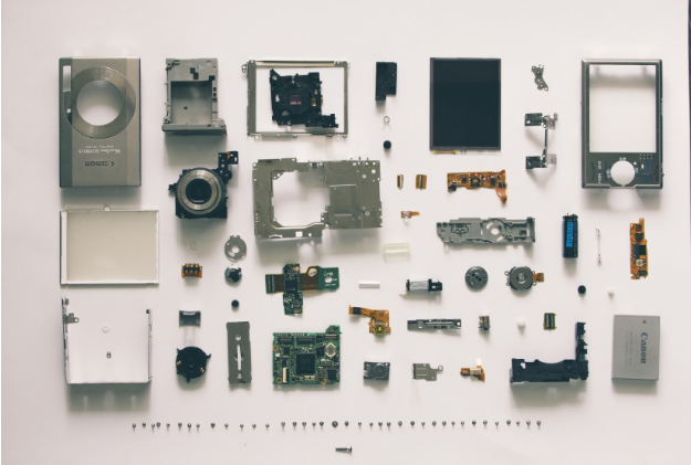 the pieces of a hard drive