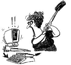 cartoon drawing of woman taking sledgehammer to computer