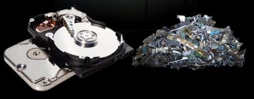 before and after shredding a hard drive