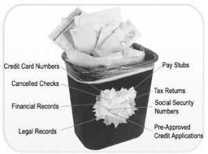 trashcan full of important documents