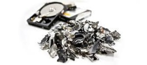 closeup of shredded hard drive