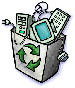 e-waste disposal with trash