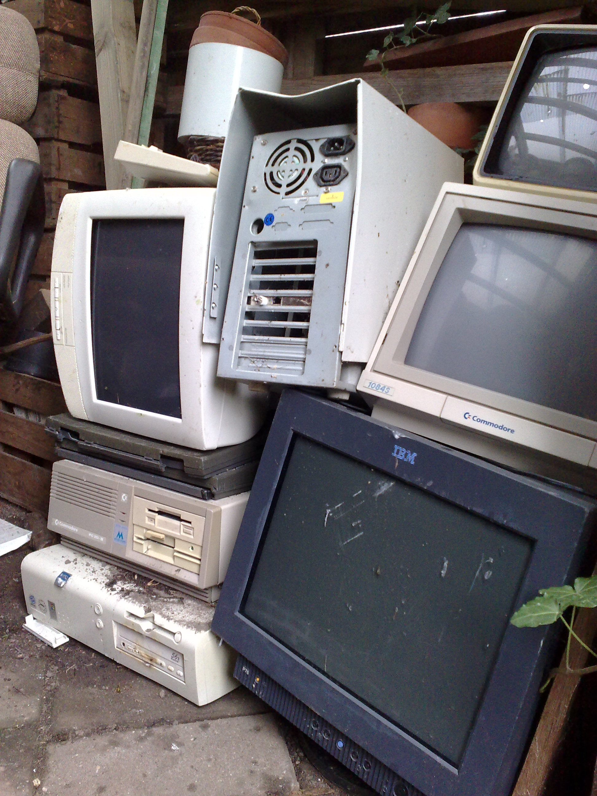 computers stacked on each other
