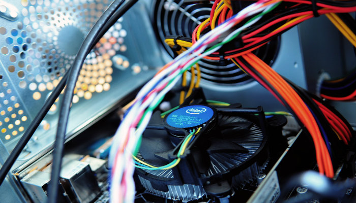 closeup of the inside of a computer fan