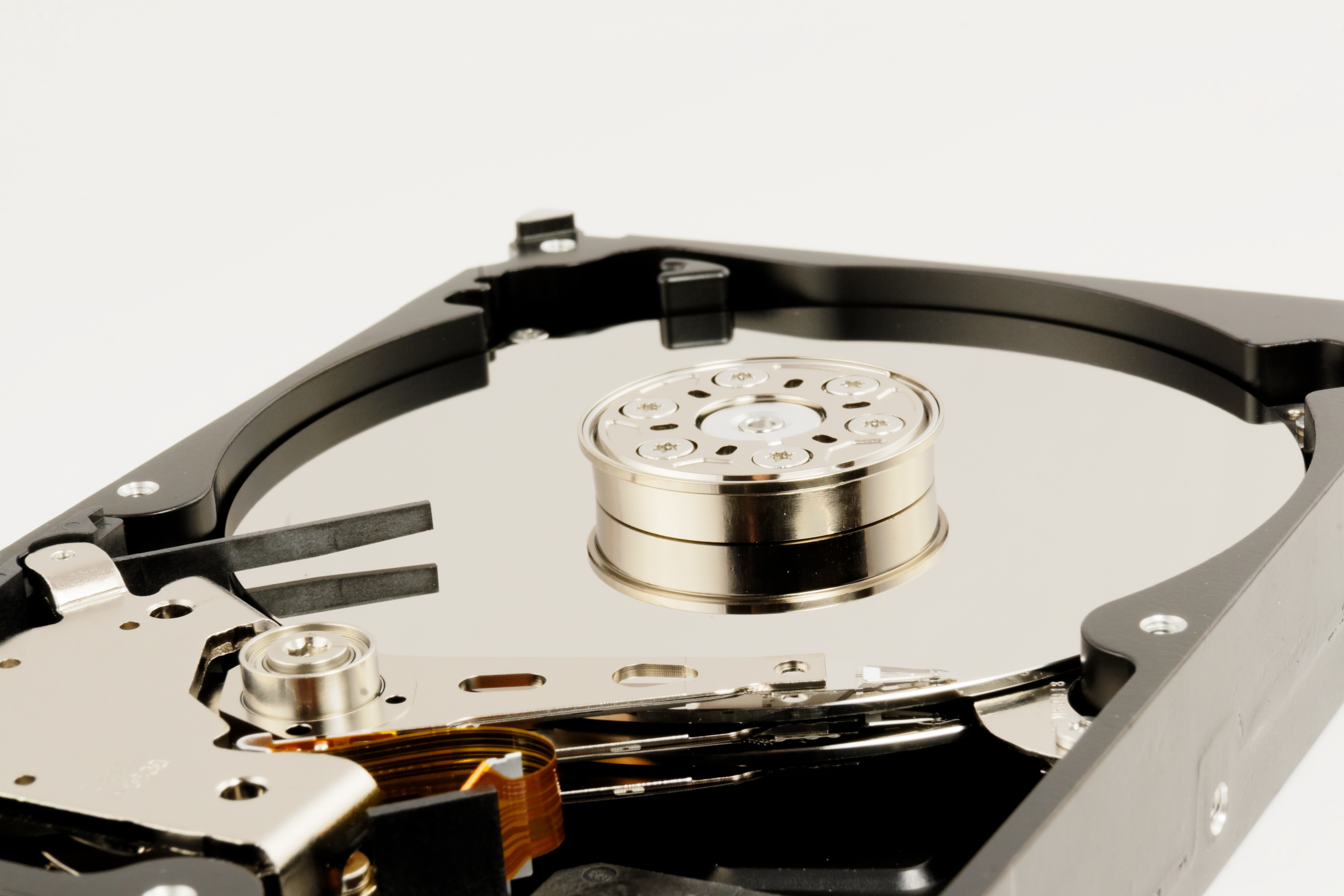 closeup angled shot of hard drive