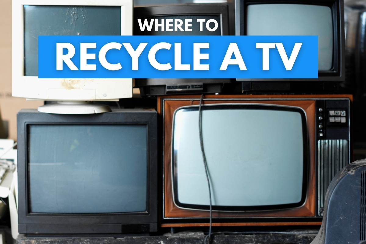 Old televisions stacked - Where to Recycle a TV