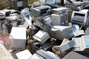 Old electronics dumped together