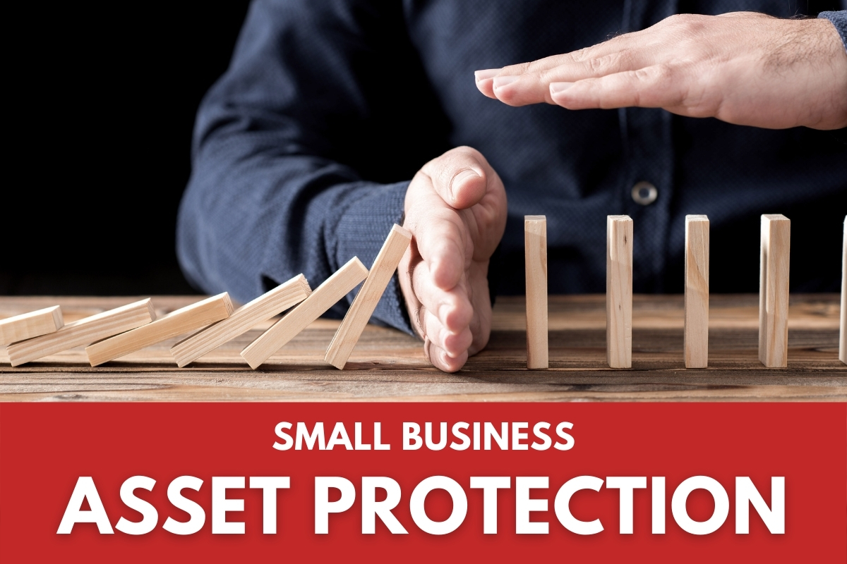 Asset Protection Concept - Man protecting some blocks from falling with his hands - Small Business Asset Protection