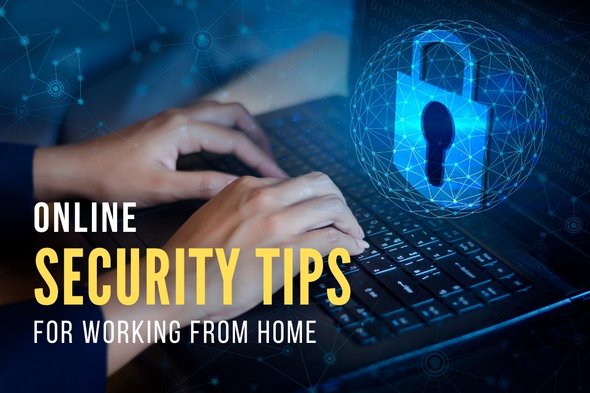 Man using a laptop in a secure way - Online Security Tips for Working from Home