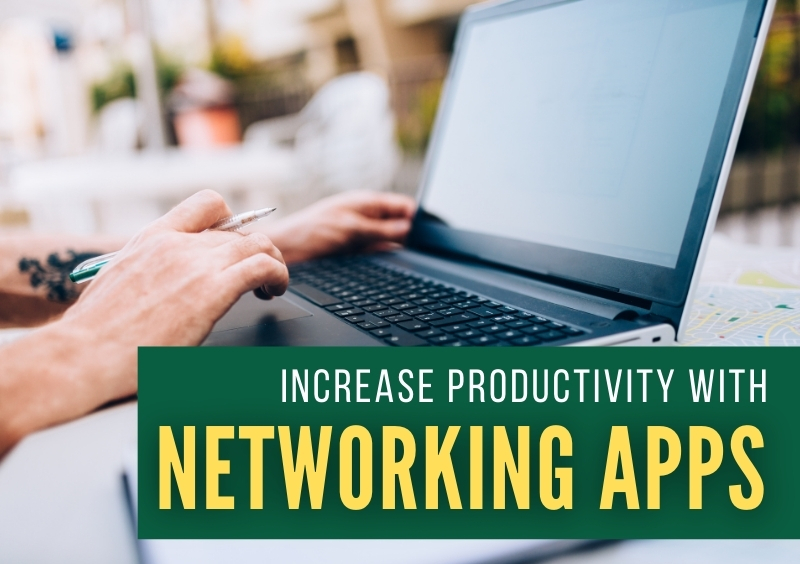 Working on a laptop - Increase Productivity with Networking Apps