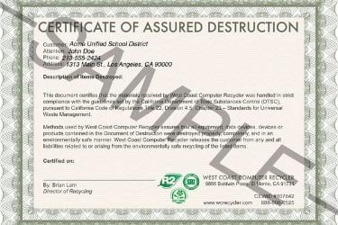 Sample of Certificate of Data Destruction