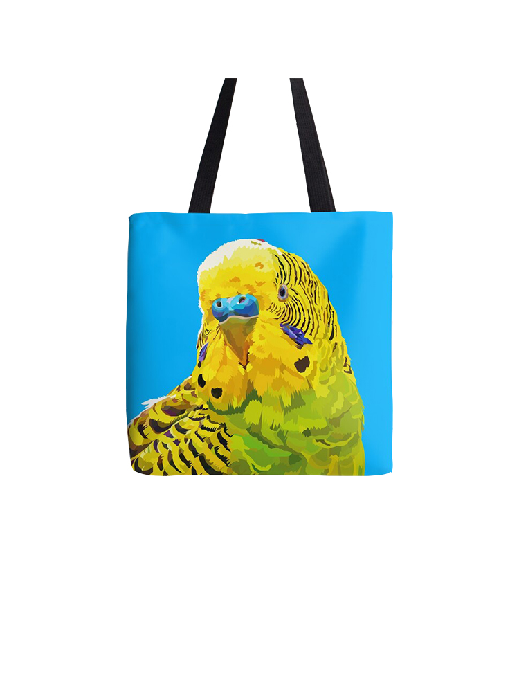 Yellow and Green Parakeet -Tote bag