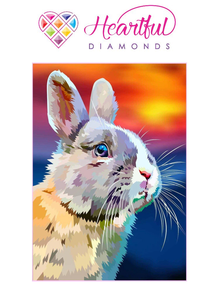 Konijn zonsondergang - Diamond painting