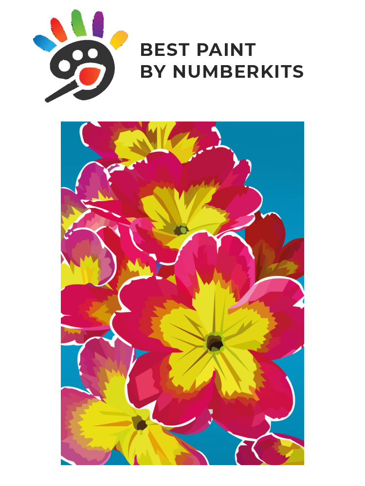 Yellow red flowers - painting by numbers