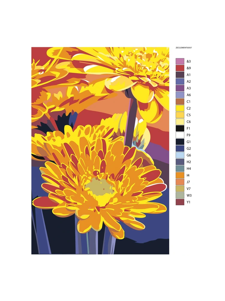 Orange Marguerites - Painting by numbers
