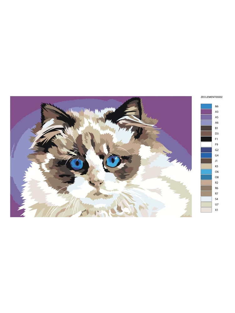 Purple cat - Painting by numbers