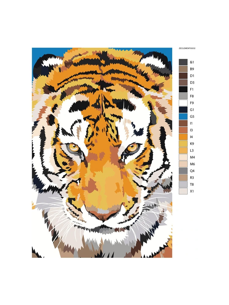 Tiger close up - Painting by numbers