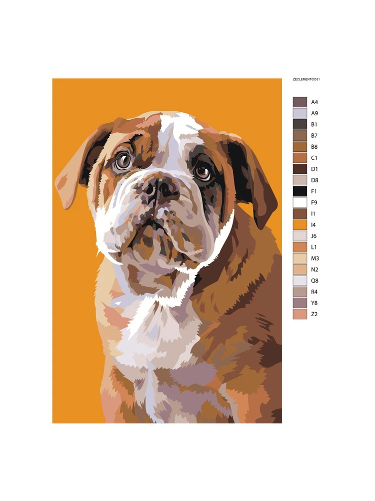 Bulldog Puppy - painting by numbers
