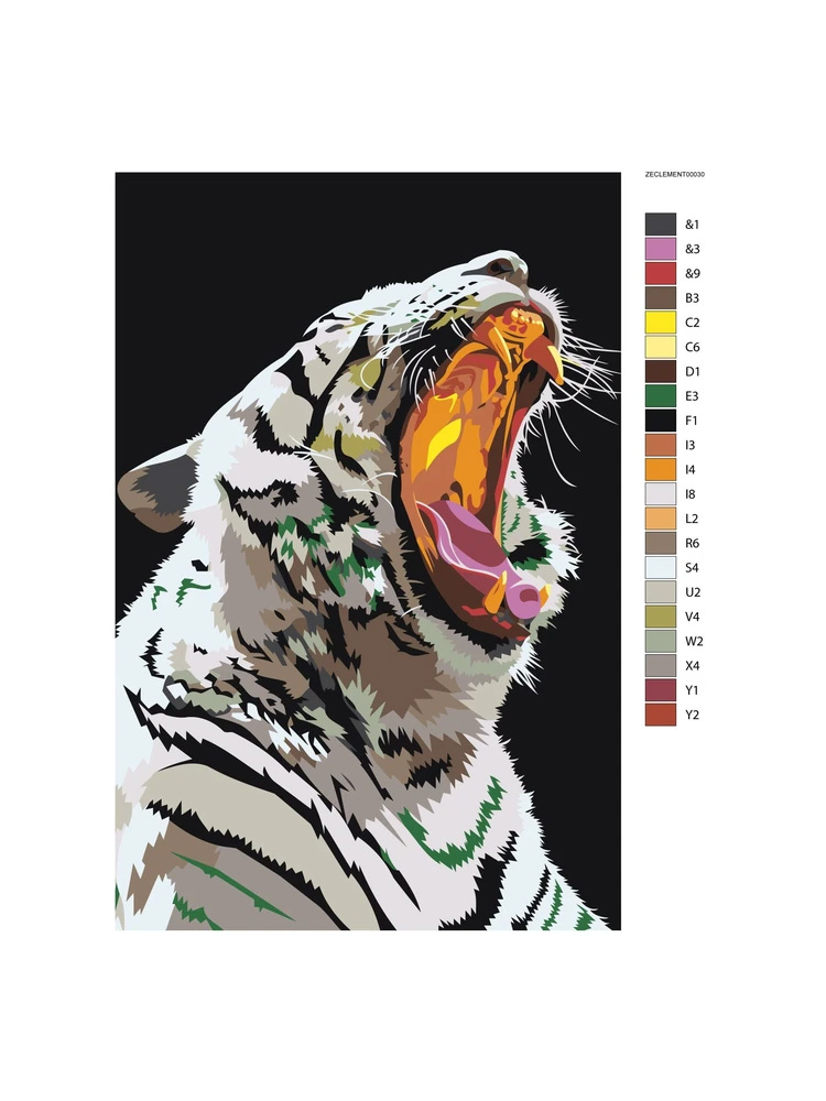 Purple roar White tiger - painting by numbers