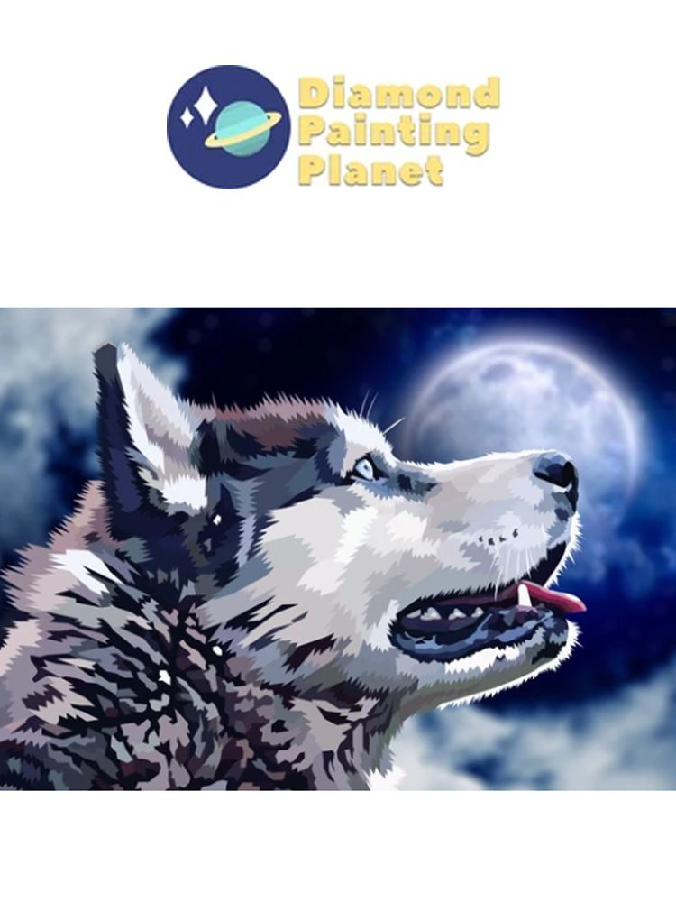 Husky Moonlight - Diamond painting