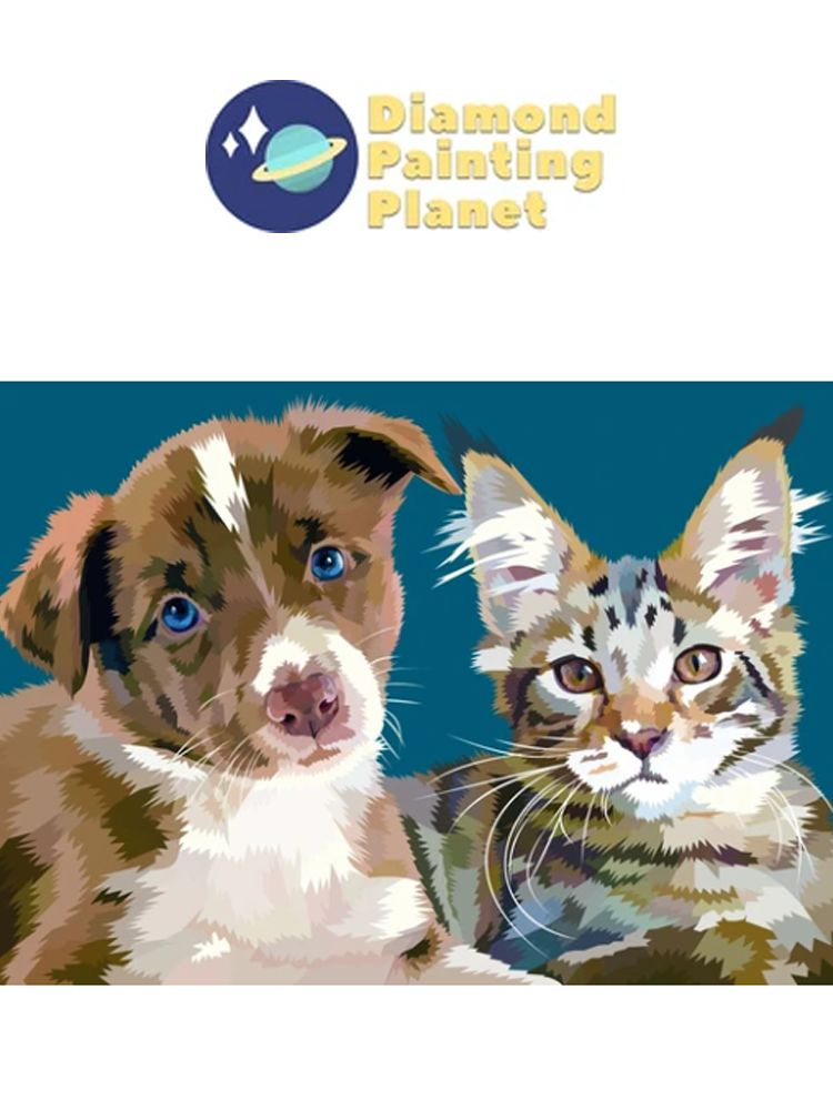 Brown dog and Kitten - diamond painting