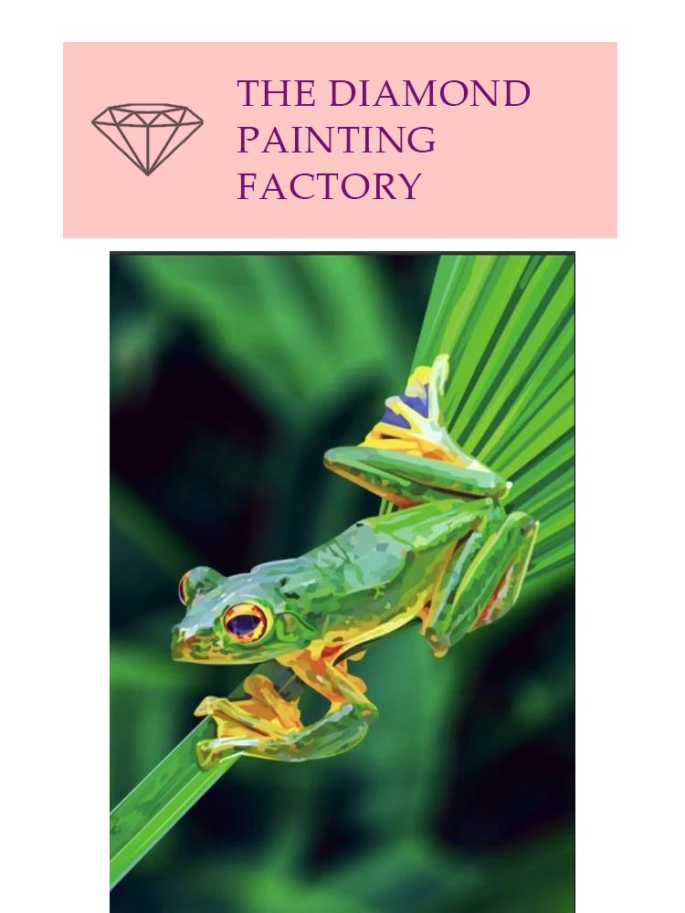 Frog on leaf - diamond painting