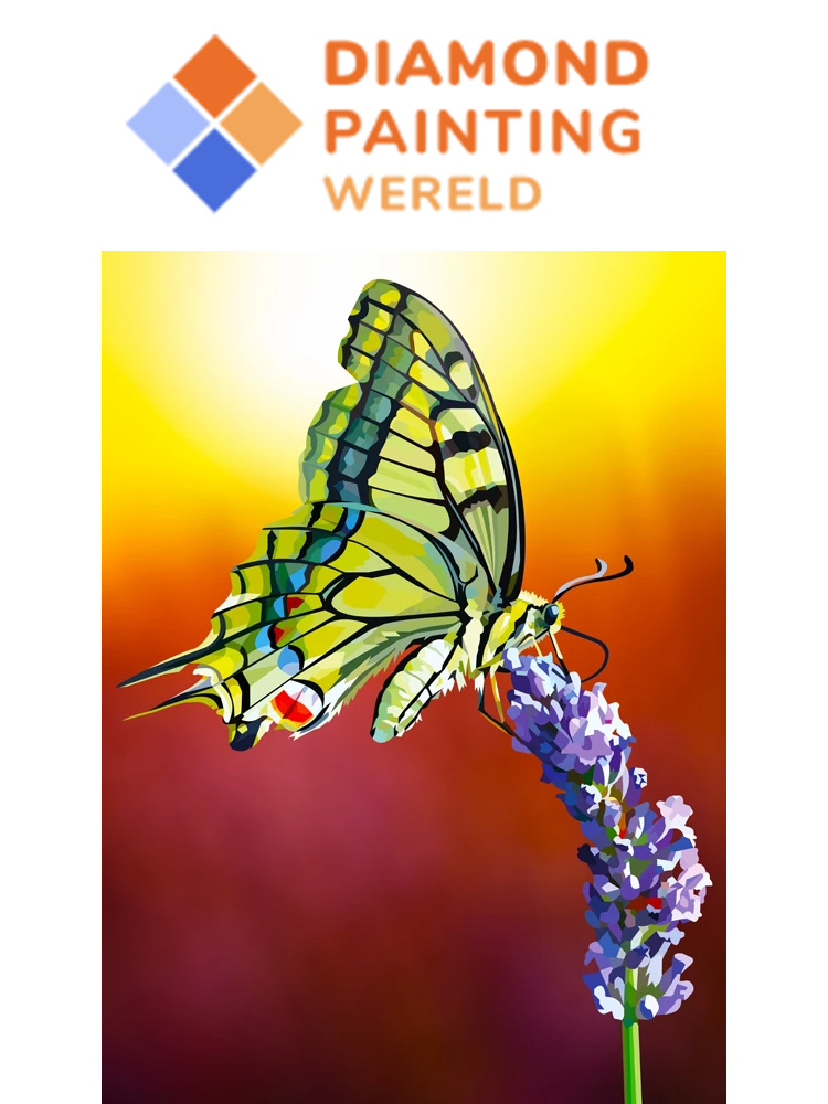Butterfly on lavender flower - Diamond painting