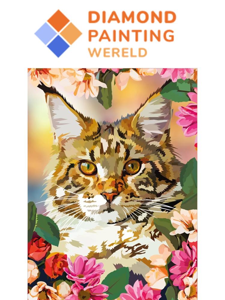 Cat Flowers - Diamond painting