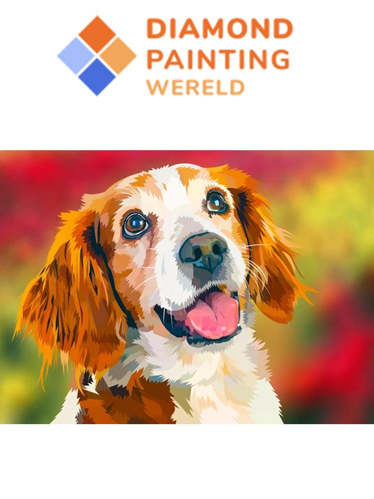 Dog Flowerfield - Diamond painting