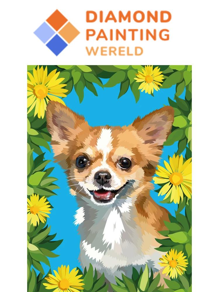 Flower Dog - Diamond painting