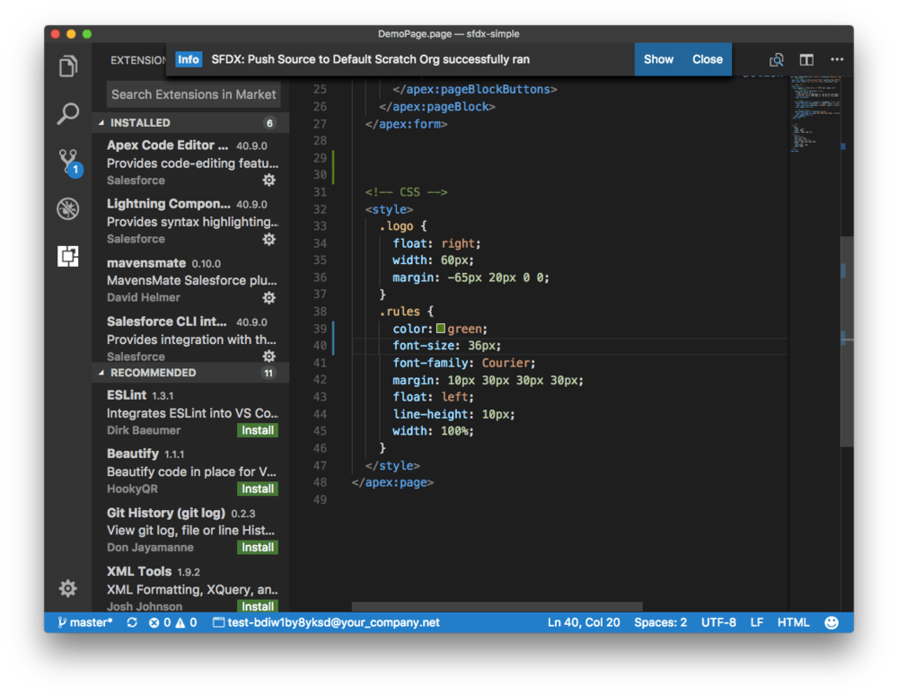 Visual Studio Code and Salesforce DX