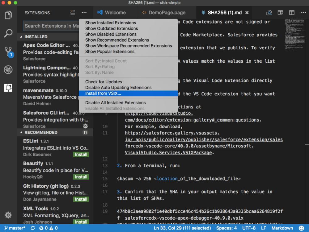 Visual Studio Code and Salesforce DX