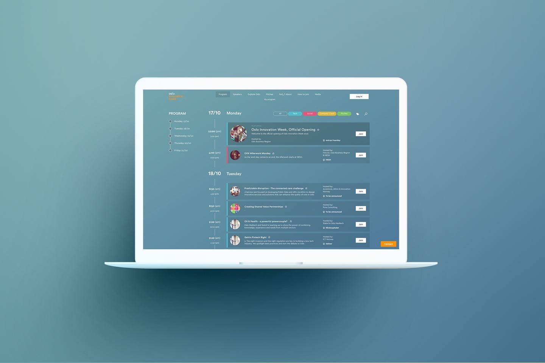 Oslo Innovation Week website on laptop, program.