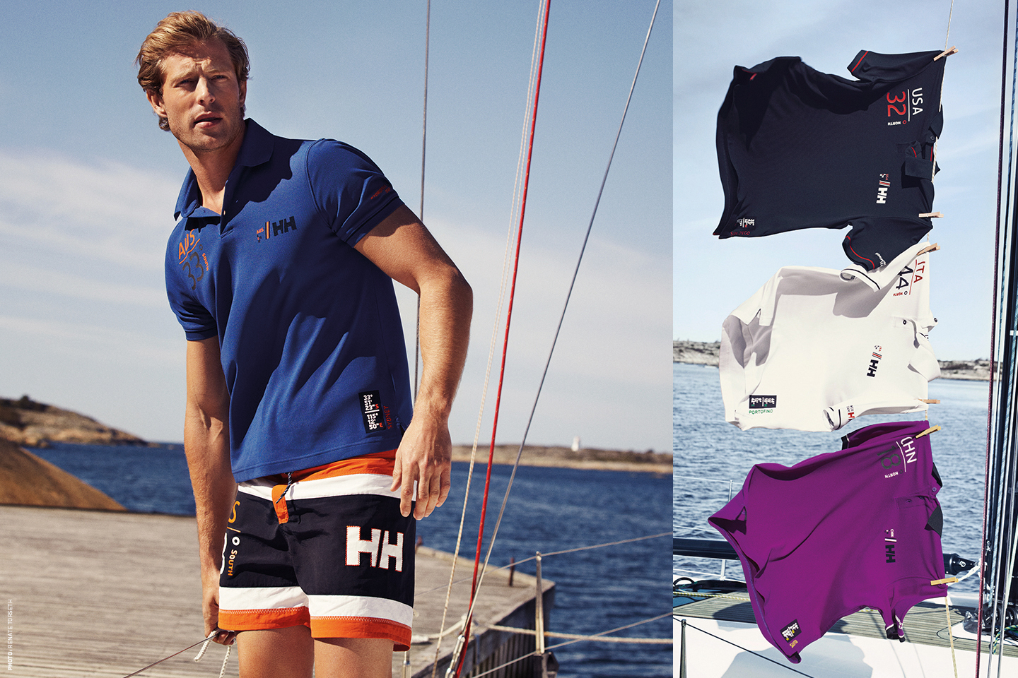 Helly Hansen sailing image, HH t-shirt and shors.