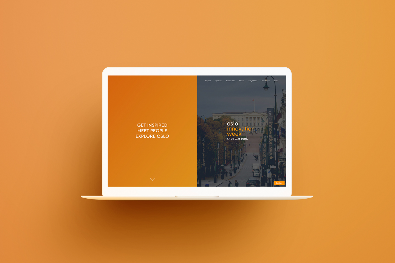 Oslo Innovation Week website on mac, orange.