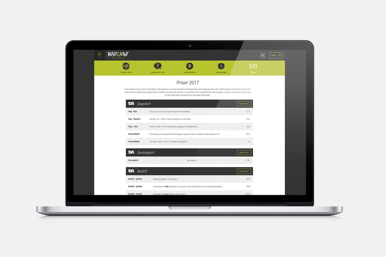 Høyt & Lavt website on macbook pro
