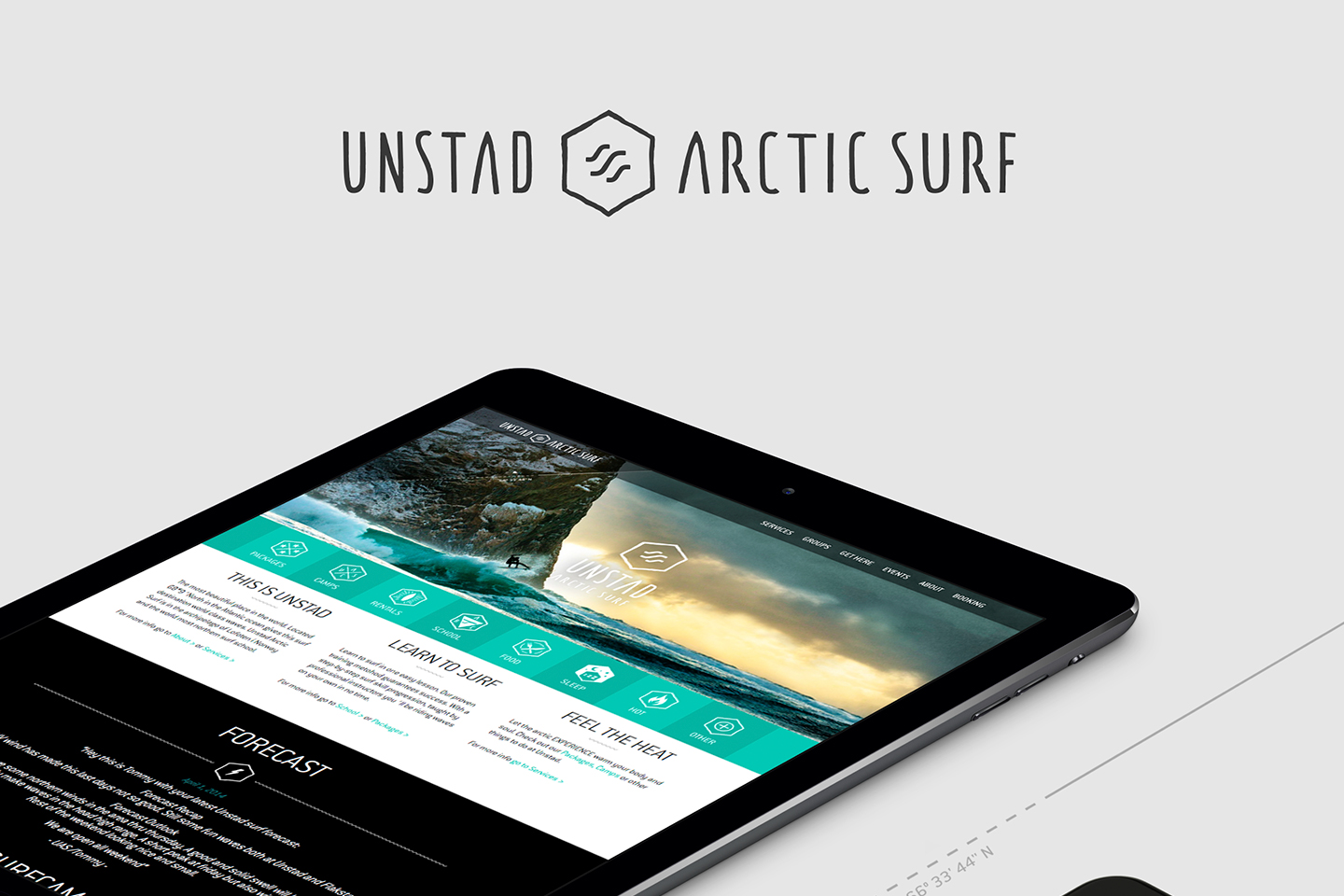 Unstad Arctic Surf logo and ipad