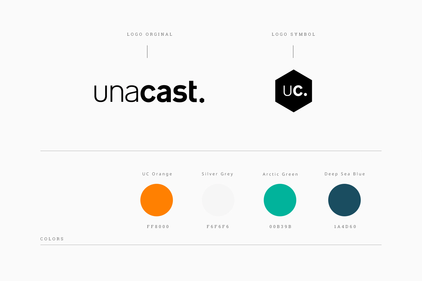 Unacast logo, symbol and colors