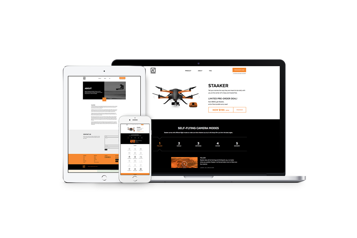 Staaker website on different devices
